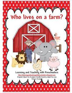 Who lives on a farm? Free Pocket Chart Activity