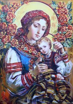 Ukrainian Theotokos by Okhapkin Alexander Jesus And Mary Pictures, Holly Pictures, Images Of Mary, Mary And Jesus, Madonna Art, Madonna And Child, Religious Icons, Religious Art, Queen Of Heaven