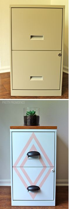 filing cabinet makeover! with a little paint, new hardware and a cute wood top you've got a stylish piece instead of an eyesore! Cabinet Makeover, Cabinet Decor, Office Makeover, Office Decor, Office Furniture, Diy Furniture, Painted File Cabinets, Decorating File Cabinets, Filing Cabinet Desk
