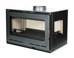 Modelo insertable de leña, 14kw. Esquinero y con ventilacion forzada para mejorar su intercambio de calor. www.nuevasenergias-shop.es
