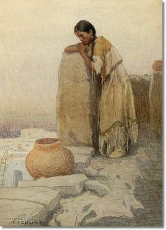 Eanger Irving Couse - Pueblo Dreams - Original Size 21x15 Watercolor Painting