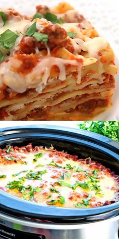 Slow Cooker Three Meat Lasagna features layers of noodles, a rich meaty sauce, ricotta cheese, pepperoni and lots of gooey cheese to complete the ensemble. Meat Lasagna, Slow Cooker Lasagna, Crock Pot Slow Cooker, Slow Cooker Recipes, Cooking Recipes, Crock Pot Lasagna, Slow Cooker Recipe Videos, Lasagna Recipe Videos, Pasta Lasagna