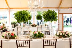 Greenery Topiary Centerpieces | photography by http://www.melissarobotti.com/blog/