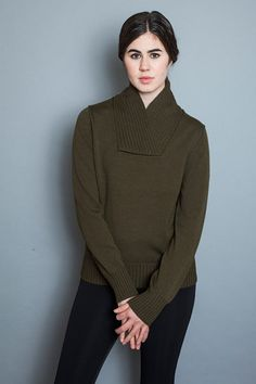 Shawl Collar Sweater - Olive - Young & Able