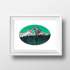 Art Prints, Mount Hood, Oregon Prints, Digital Art, Wall Art, Oregon Art, Pacific Northwest, PNW Art, Nature Print, Mountain Art