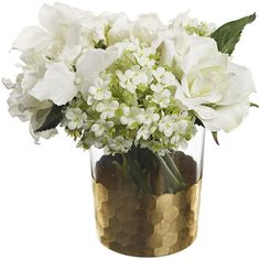 Paper Whites Hydrangea & Snowball in Honeycomb Glass ($35) ❤ liked on Polyvore featuring home, home decor, floral decor, flowers, faux flower arrangement, fabric flowers, flower arrangement, fake flower bouquets and hydrangea silk flowers