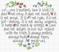 """Love Never Fails"" cross stitch chart"