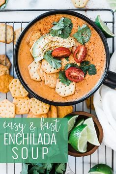 Easy, cheesy, red enchilada soup just like Chili's restaurant. This soup is made in the pressure cooker in minutes and packs a punch with tender chicken, spiced enchilada sauce, melty cheese, and a secret ingredient that you won't ever guess! Just Like Chili's Enchilada Soup will be your new favorite! || Oh So Delicioso Chili Recipe From Scratch, Best Chili Recipe, Best Soup Recipes, Chili Recipes, Healthy Recipes, Chilis Enchilada Soup, Red Enchilada Sauce, Homemade Chili, How To Cook Chicken