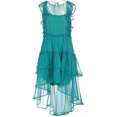 Alberta Ferretti Knee-length Dress (€1.225) ❤ liked on Polyvore featuring dresses, emerald green, blue slip dress, ruffle slip dress, blue sleeveless dress, sleeveless dress and slip dresses