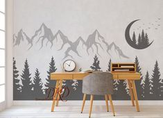 Wall Decal Mountain landscape with Moon Pine tree Mountain Decal Mountain wall art Woodland Nursery Birds Forest wall Small Pine Trees, Pine Trees Forest, Wall Decals For Bedroom, Nursery Decals, Woodland Nursery, Tree Designs, Wall Murals, Wall Art, Decoration