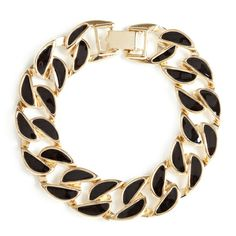 """Sylvia Bracelet https://patricerenee.kitsylane.com/index.php?file=product_detail&pId=4307 The black and gold S-shaped Sylvia bracelet embodies the timeless luxury for which Adia Kibur is known. Sylvia is made from flat, enamel-inlaid links. Pair this stunner with a classic gold chain necklace on your next night out.  - Gold tone metal, enamel - 2 1/2"""" diameter - Buckle clasp closure"""