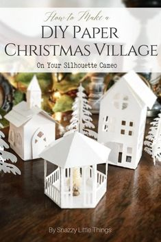 DIY Christmas Village Using a Silhouette Cameo - How to Make A DIY Paper Christmas Village on Your Silhouette Cameo. Simple templates that you can d - Paper Christmas Decorations, Christmas Paper Crafts, Diy Christmas Gifts, Christmas Projects, Christmas Home, Christmas Ornaments, Simple Christmas, Holiday Decor, Silhouette Cameo Weihnachten