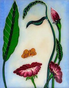 Flower art Glass painting Flowerscape painting Landscape painting Painted glass from on Etsy. Illusion Paintings, Illusion Art, Glass Painting Designs, Paint Designs, Indian Art Paintings, Flower Pictures, Surreal Art, Flower Art, Landscape Paintings