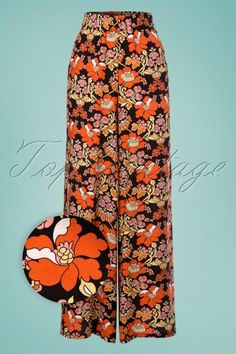 1d2c3979dc7 70s Don t Hold Back Flared Pants in Black and Orange