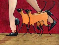 Siamese Cats Stiletto Heels. Art Print by Shano.