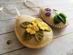 Felt Easter Eggs with Wild Flowers Primroses and Wild