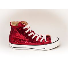 b6be12dd6 Tiny Sequin Starlight Red Customized Converse Canvas Hi Top Sneakers...  (3.255 CZK