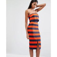 Lavish Alice Stripe Print Bandeau Cropped Midi Dress (£85) ❤ liked on Polyvore featuring dresses, multi, crop dress, calf length dresses, bandeau midi dress, stripe midi dress and mid calf dresses