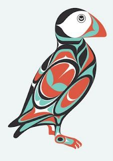 Puffin - Icelandic artist Sigurður Oddsson (Siggi Odds) applies the traditional motifs, symbolism, and formal rules of indigenous peoples on the coast of Northwestern America in his own contemporary work.