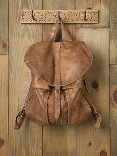 "Handmade FreePeople backpack, ""environmentally responsible"" as it's made from recycled leather jackets, $458"