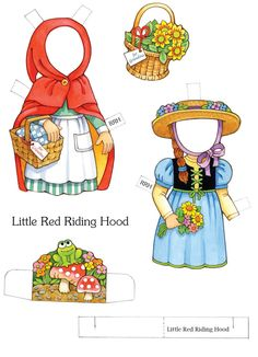 Little Red Riding Hood Paper Dolls sample pages @ Dover Publications Fairy Tale Crafts, Paper Art, Paper Crafts, Red Ridding Hood, Traditional Stories, Vintage Paper Dolls, Paint Shop, Paper Toys, Textile Patterns