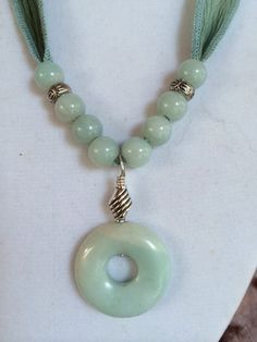 Hand dyed silk ribbon necklace in multi colored green with