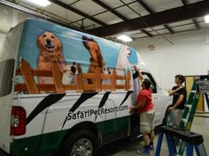 Advertising van wrap for Safari Pet Resort. 12-Point SignWorks