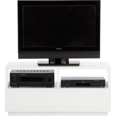 minimal white media console / tv stand