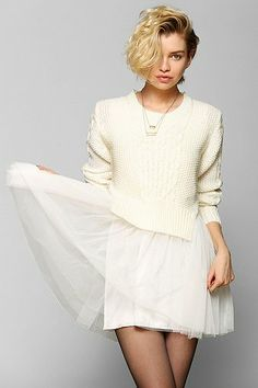 UNIF Chloe Fisherman Sweater Tulle Dress - Malia totally wore this to the Christmas in Washington concert