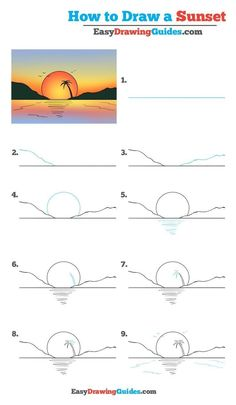 How to Draw a Sunset - Really Easy Drawing Tutorial drawing for kids - Drawing Tips Easy Pencil Drawings, Pencil Sketch Drawing, Cute Easy Drawings, Doodle Drawings, Drawing Tips, Drawing Poses, Drawing Drawing, Learn Drawing, Easy Drawing Pictures