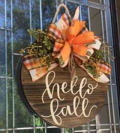 Wooden Door Signs, Wood Signs, Fall Door Hangers, Wall Hanger, Wooden Wreaths, Happy Fall Y'all, Fall Diy, Hello Autumn, Fall Crafts