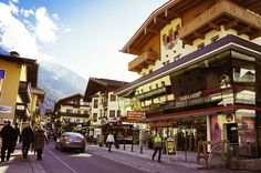 Mayrhofen, Austria, main strip, Kodak punch Innsbruck, Capital City, Alps, Austria, Places Ive Been, Punch, Times Square, Street View, Snow