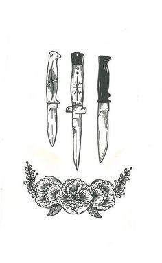 Knife And Dagger Tattoo Designs Celtic Tattoos, Star Tattoos, Skull Tattoos, Animal Tattoos, White Tattoos, Belly Tattoos, Gun Tattoos, Lyric Tattoos, Stomach Tattoos