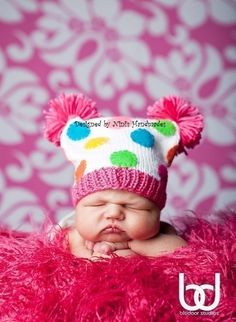 BRIGHT  Baby Childrens hat, Beanie, Hat with Polka dots , Newborn photography, Childrens clothing, accessories,   Rainbow colors