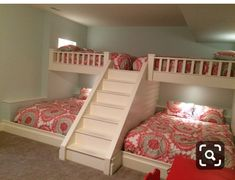 Girls bedroom storage - Custom made bunk beds Queen beds on top and bottom Outlets and lights by the head of each bed Bunk Bed Rooms, Bunk Beds Built In, Bunk Beds With Stairs, Kids Bunk Beds, Triple Bunk Beds, Full Bunk Beds, Loft Spaces, Small Spaces, Bedroom Furniture