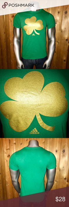 "Adidas Fighting Irish Notre Dame Men's T-Shirt Size: U.S. Men's Medium Color: Green/Gold Official Adidas Product - The Go-To Tee Notre Dame ""Fighting Irish"" Four (4) Leaf Clover Logo T-Shirt Short Sleeves Regular Fit 100% Cotton Made in Honduras  Excellent Condition! No rips, stains, tears, pulls, pills or fading  Shirt comes from a smoke and pet free home  Thanks for looking! adidas Shirts Tees - Short Sleeve"