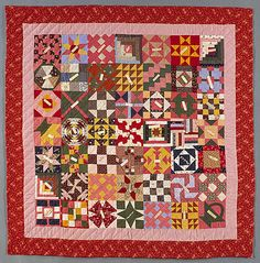 "Sampler Friendship quilt, c. 1860-1880, pieced, quilted, embroidered, cotton, 75-3/4"" square"