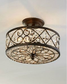 "Amherst Collection 4-Light 13"" Antique Bronze Crystal Semi-Flush Mount 11286/4. Kinda simple but pretty"
