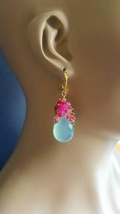 Just listed! Aqua chalcedony with raspberry colored gems.. https://www.etsy.com/listing/554776493/aqua-chalcedony-and-shaded-tourmaline