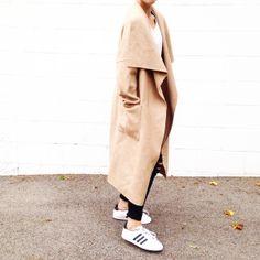 Zara Camel Robe Coat and Adidas Originals