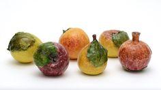 Set of six ceramic fruits