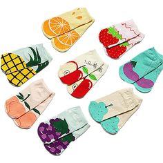 Amazon.com: BR Women's Girl's Fruity Cotton Low-Cut No Show Socks -Pineapple,Peach,Watermelon: Clothing