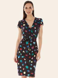 Bokeh Print Wrap Dress Black | Yumi