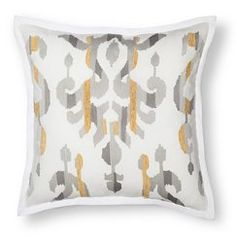 Threshold Square Pillow Gray Embroidered Ikat