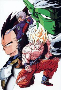 Vegeta, Trunks, Goku, and Piccolo
