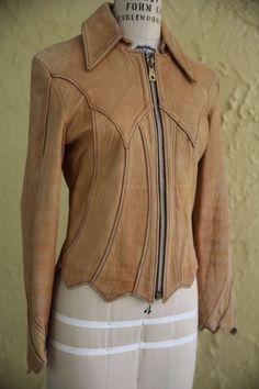 Vtg 60s 70s East West Musical Instruments Leather Jacket Coat Boho Hippie Size 9…
