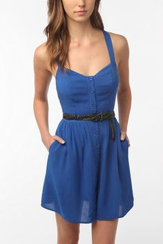 Urban Outfitters Staring at Stars Crossback Button-Down Dress