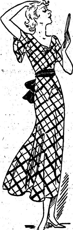 NZ Evening Post, 24 June 1933.  Plaids are fashionable.  In green and blue plaid, and in crepe.  This dress has a novel hip-yoke, a skirt that is full below the hipline, and a red velvet sash completes the look.