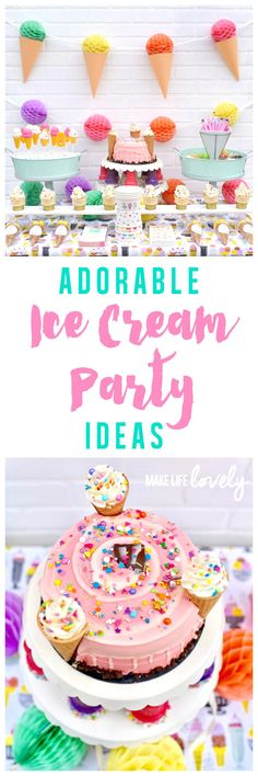 Cool off with this adorable ice cream party! So many fun ice cream party ideas, including ice cream cone cupcakes, a diy ice cream cone garland, and party decorations made with Cricut Explore Air 2! #Cricut #PartyWithCricut #CricutMade #ad