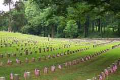 Shiloh National Cemetery, a part of Shiloh National Military Park holds 3,584 Civil War dead, 2,359 unknown. Tall stones mark the known dead, short stones denote unknown soldiers.